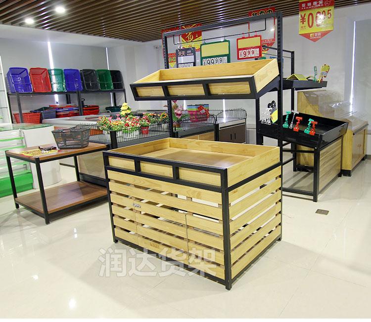 果蔬货架 便利店木质水果蔬菜展示货架