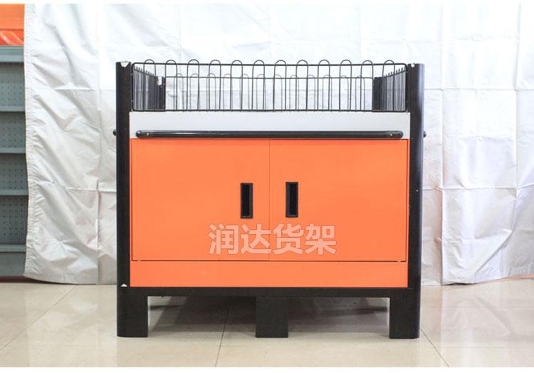 RD-超市重型带栏网橙色堆头架,服装促销台